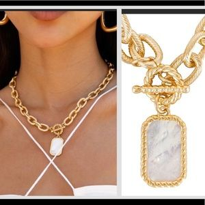 NWT Ettika 18K gold mother of Pearl necklace